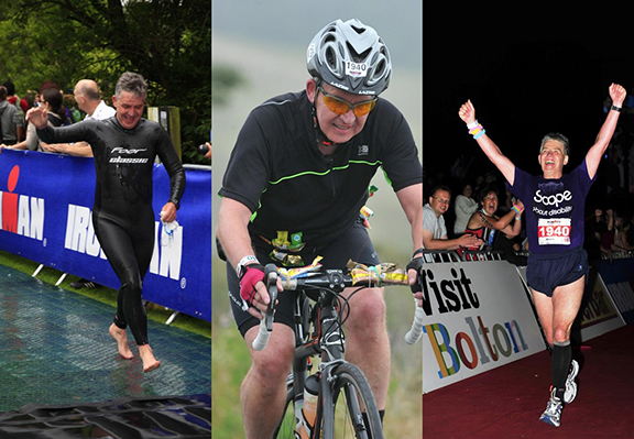 Martin competing in the UK Ironman